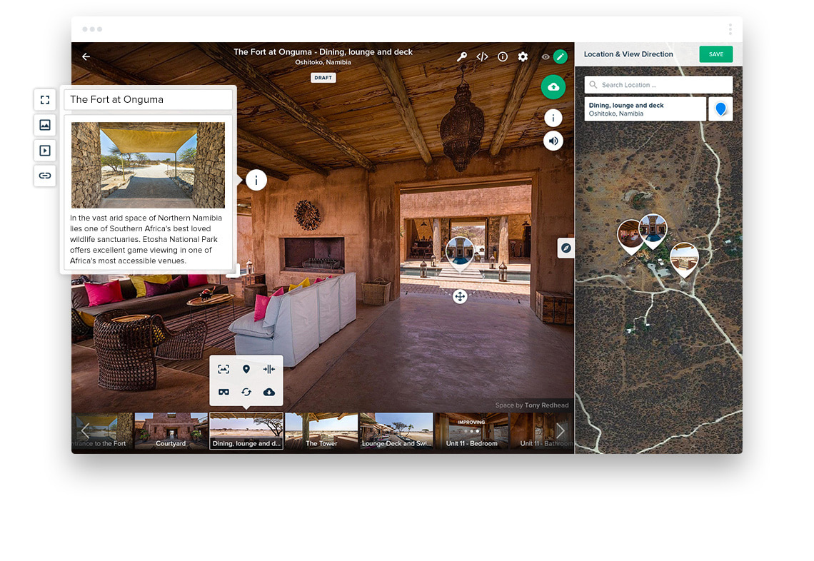 Roundme - create Stock 360 VR panoramic pictures virtual tour online